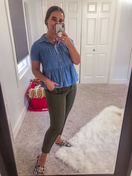 Today's workwear Wednesday outfit. Best skinny dress pants ever, short sleeve chambray, and popular fall mules   #LTKstyletip #LTKunder100 #LTKworkwear