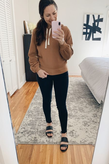 Another cozy work from home outfit all on sale! I recommend sizing up in this sweatshirt 🤎 http://liketk.it/2LOhU #liketkit @liketoknow.it #LTKsalealert #LTKunder50