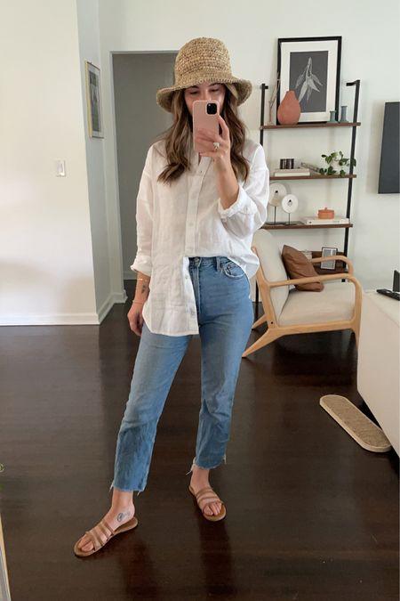 Laid back summer @liketoknow.it #liketkit http://liketk.it/3fUAW  Abercrombie jeans | tkees | linen shirt