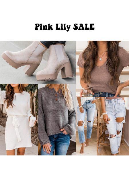 Pink Lily Fall Sale Finds. jeans, sweater dress, boots   #LTKshoecrush #LTKSale #LTKSeasonal