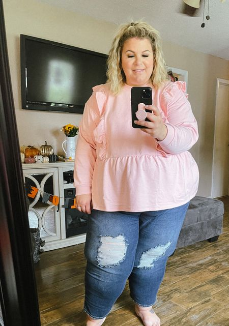 This plus size sweatshirt is a Walmart fashion find I'm loving! If you need a casual plus size fall outfit, this sweatshirt and Sofia Vergara plus size jeans are perfect!   #LTKunder50 #LTKstyletip #LTKcurves