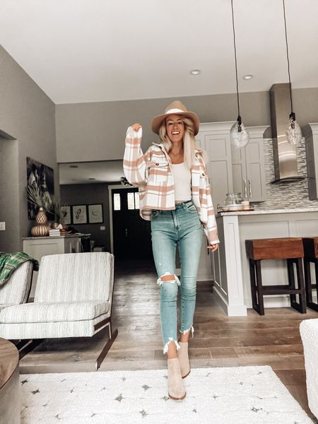 Cropped shacket for fall from apricot lane - save 20% with code JENNA  Fall style and fall trends  Skinny jeans ankle booties   #LTKstyletip #LTKSeasonal #LTKSale