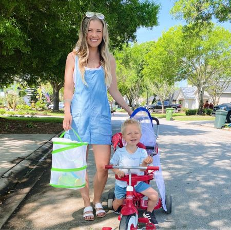 Springtime walks with ALLLL the butterfly nets! 🦋😆  Wearing this super comfy romper that I actually bought last year when I was pregnant (bump friendly!) and it could not be more comfy! I have it in white as well and it's great as a swimsuit coverup, too!   #LTKfamily #LTKunder100 #LTKunder50