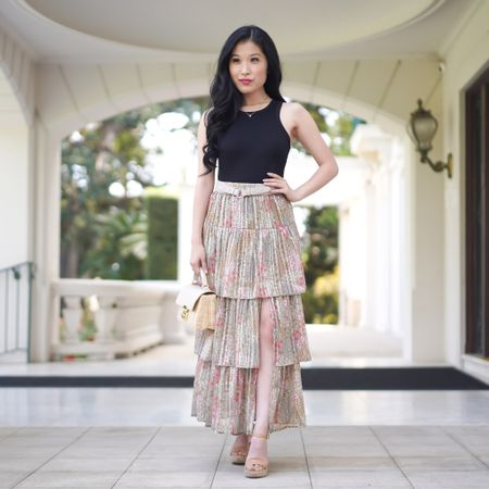 MINKPINK tiered green floral skirt, classic black tank, sandals for a perfect spring look!   #LTKSeasonal