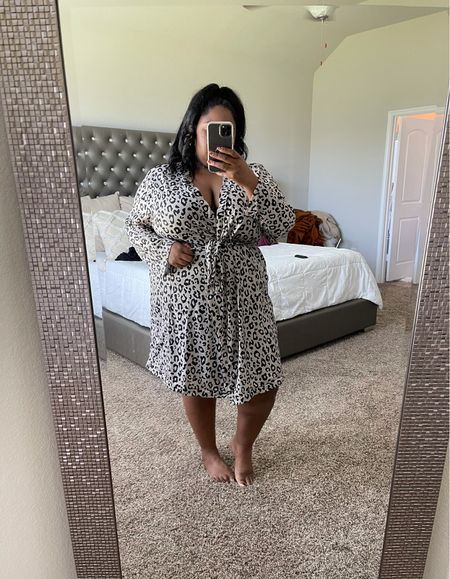 Plus size Amazon robe, affordable robe, Amazon finds, Amazon fashion, leopard robe.  #LTKcurves