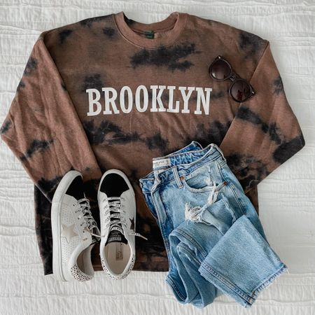 Tie dye sweatshirt, target style, target finds, Abercrombie jeans, mom jeans, skinny jeans, star sneakers, fashion sneakers, casual outfit, fall outfit   #LTKunder50 #LTKsalealert #LTKunder100