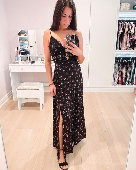 Got this beautiful free people floral maxi dress on clearance at Marshall's! I love the sexy lace details and this color scheme is perfect for summer into fall. A great date night outfit, wedding guest dress, or night out dress. These Sam Edelman heels are also on sale.   #LTKshoecrush #LTKunder100 #LTKSeasonal