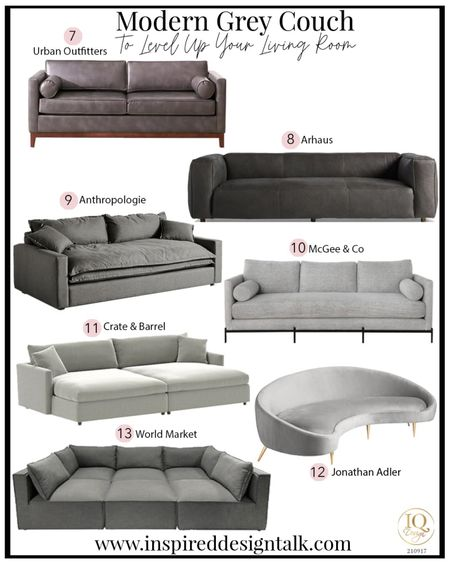 Modern Grey couch ideas to update your living room furniture this year. Perfect time for holiday entertaining.   Home decor, sofa, couch, sofas, couches, living room inspiration, sectional, leather sofa, leather couch  Follow me on the LIKEtoKNOW.it for more furniture and home decor ideas.   #LTKstyletip #LTKhome #LTKHoliday