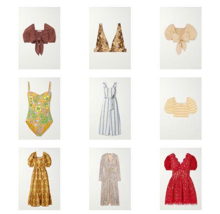 Your vacation wardrobe via Net-a-Porter sale. Up to 80% off Vacation outfits Vacation dress Crop tops Swimsuits   #LTKunder100 #LTKstyletip #LTKsalealert