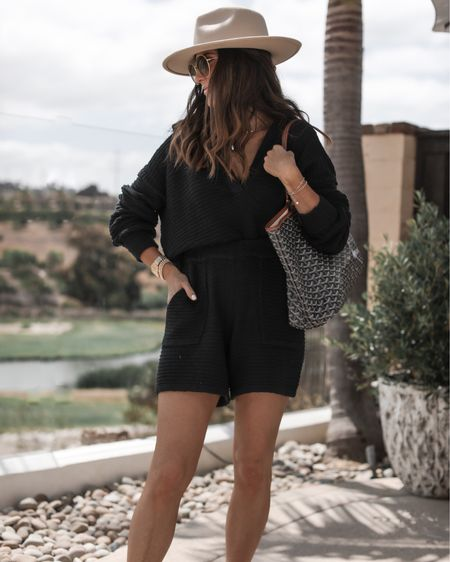 Summer set, Wearing Carter sweater set in size XS- I'm just shy of 5'7 for reference (black color currently sold out), fedora hat, tote bag, summer outfit ideas, sandals, StylinbyAylin @liketoknow.it #liketkit http://liketk.it/3hUxm