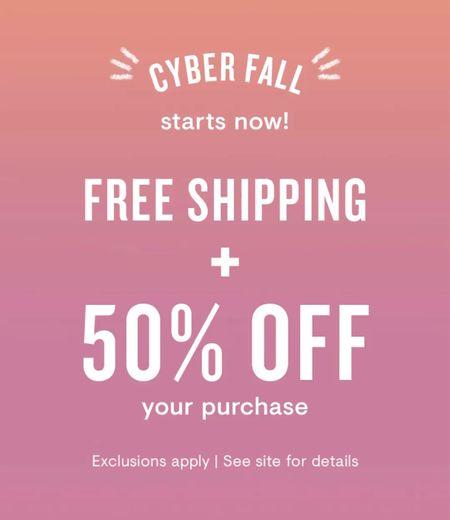 """Loft Fall Sale. 50% off your purchase + free Shipping with code """"CYBER"""". Women's fall fashion. Dresses. Pants. Belts. Blouses. Sweaters. Shackets. Jackets. Coats. Sherpa. Skirt. Blazer.  #LTKSeasonal #LTKsalealert #LTKunder50"""