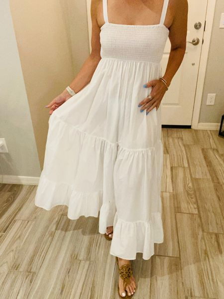Classy white every day dress. You can throw a jean jacket on and wear sneakers if you want a casual look. I wear small.  #LTKstyletip #LTKunder50 #LTKunder100