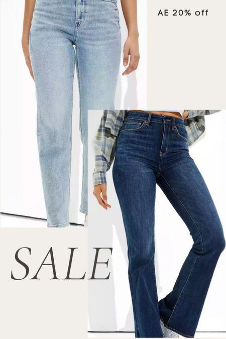 American Eagle jeans on sale 20% off, loose jeans, high waisted jeans, flare jeans, mom jeans, fall denim   #LTKsalealert #LTKunder50 #LTKunder100