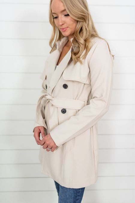 My favorite cream trench coat is back! This one has a stretch to it (yay) and drapes beautifully. Wearing a small