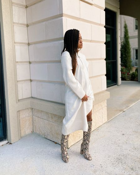 can't get enough of these boots. for those that have asked, they were the best $20 purchase ever from @zara a couple of years ago. and how about a cozy sweater dress with them. I've linked some similar styles in my bio for you to easily recreate this look 🤎 http://liketk.it/349mj #liketkit @liketoknow.it