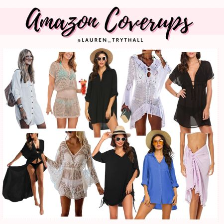 Cute swimwear coverups from Amazon. Perfect for vacation outfits & beach days. Coverups are a must have during bikini & one piece season   #LTKSeasonal #LTKswim #LTKstyletip