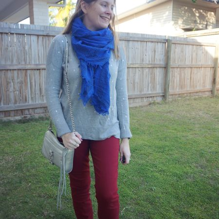 Adding some colour to this grey polka dot knit with the burgundy jeans and cobalt scarf. With a little matchy-matchy bag, this silver Rebecca Minkoff mini MAC that goes with everything but goes especially well with the silver foil dots on this knit. Busy day before current restrictions in Brisbane with the school run and sports for both kids ❤💙  ---------------------- ---------- -------------- --------------------------  Screenshot this pic to shop the product details from the @liketoknow.it app, or click here: http://liketk.it/3lzfK #liketkit #LTKitbag #myRM #RebeccaMinkoff #realmumstyle #realeverydaystyle #everythingLooksBetterWithABag #everydaystyle #triplecstyle #winterstylefile #wearedonthestreet
