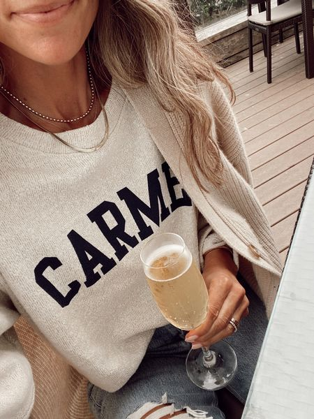 Last night's cozy layers for a chilly evening… graphic sweatshirt was a local purchase but linking a similar option on Etsy //     #LTKstyletip