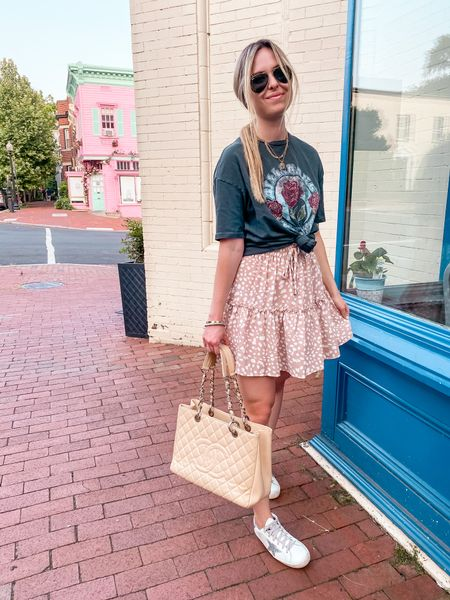 Skirt & graphic tee combo is a yes from me 👍🏻 This skirt is so cute, and it's super affordable! 💕   #LTKstyletip #LTKunder50