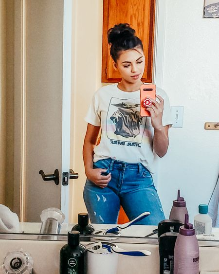Casual women's outfit. Graphic tees distressed denim jeans. http://liketk.it/2XUSA @liketoknow.it #liketkit #LTKunder50