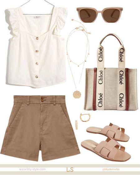 The chicest neutrals 😍  #liketkit @liketoknow.it http://liketk.it/3iOSy #summeroutfit #shorts #nudeslides #chloetote #madewell #everlane