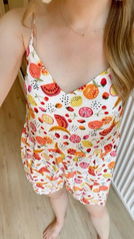 Fruit romper 40% off today! Wearing Xs petite l