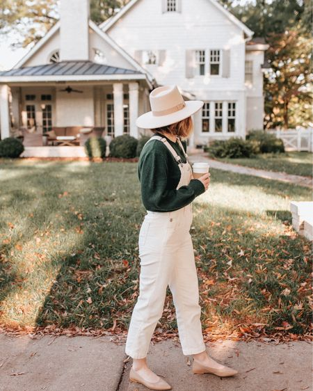 recreate one of my favorite fall looks from last fall - off white overalls with a green sweater (still in stock), wool hat (still in stock) and nude flats (limited sizes available, linked similar as well)   #LTKstyletip #LTKSeasonal #LTKunder100