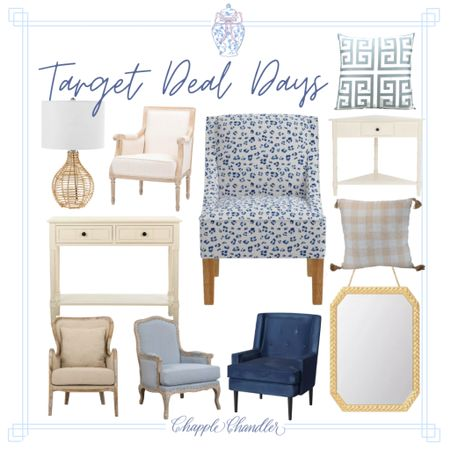 Target deal days home decor furniture finds indoor living room kids bedroom accent chair armchair lamp wicker rattan gold mirror throw pillow gingham leopard cheetah print chair blue and white Greek key pillow white console table accent table  #LTKsalealert #LTKhome #LTKSeasonal