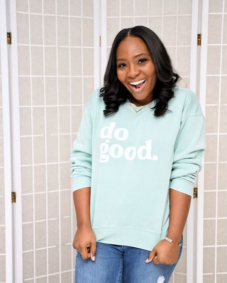 I love this message and the color of this sweatshirt. But and shine. http://liketk.it/37xOp #liketkit @liketoknow.it You can instantly shop all of my looks by following me on the LIKEtoKNOW.it shopping app