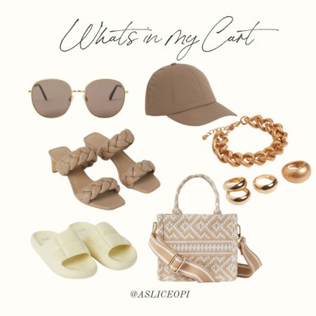 📷 Whats in my cart- H&M! Round sunglasses, brown hat, gold jewelry, tote bag, slide sandals, taupe heels. http://liketk.it/3luM5 #liketkit @liketoknow.it