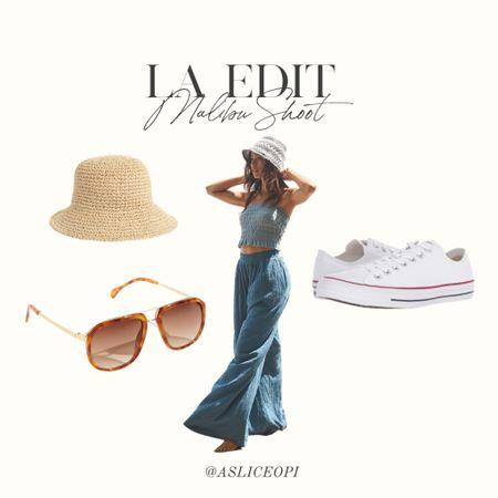 📷 LA EDIT- Woven hat, blue Free People set, white low top converse, retro sunglasses! #liketkit http://liketk.it/3mwLU @liketoknow.it