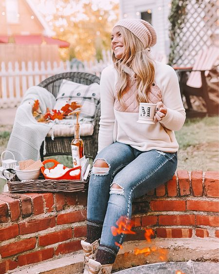 favorite fall things: a cozy campfire + hot chocolate and s'mores! 🔥  . . my fleece pullover is on sale! Shop your screenshot of this pic with the LIKEtoKNOW.it shopping app @liketoknow.it #liketkit #LTKsalealert http://liketk.it/2GkBy