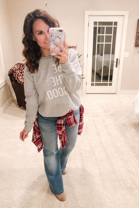 I feel like my sweatshirt says it all so my caption today is simple BE THE GOOD.   http://liketk.it/2YVEO #liketkit @liketoknow.it #flarejeans #accentwithplaid #statementsweatshirt #plaidflannel