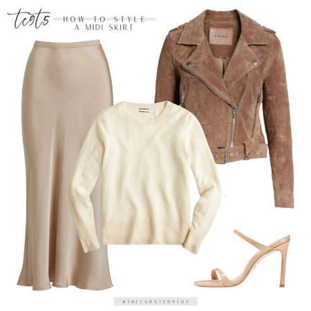 Suede moto jacket, cream cashmere sweater, satin midi skirt, neutral sandals, workwear, work style, date night, fall style   #LTKstyletip #LTKSeasonal #LTKworkwear