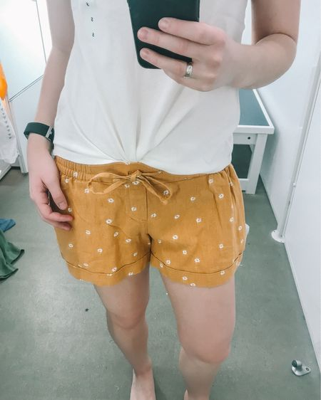 Love this Hero top for International Women's day! These mustard yellow pull on linen shorts fit TTS and I love the white daisies on them! Too cute! Perfect for the spring time!   http://liketk.it/2AoIH #liketkit @liketoknow.it #LTKunder100 #LTKstyletip #LTKsalealert #LTKunder50