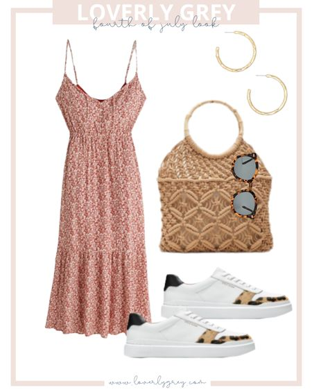 Loverly grey Fourth of July look 🇺🇸 pair a muted red dress with leopard sneakers!   #LTKstyletip #LTKunder100 #LTKshoecrush
