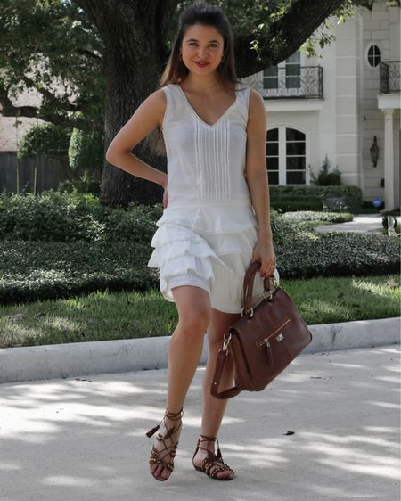 MiniStyledBlog👉🏼Staying cool this summer in white mini dresses+romantic ruffles & crochet. The great migration from my activewear is real (aka today's outfit) BUT I am loving that summer dress life🤍🤍🤍 I was SO excited when I found this gorgeous Pam&Gela ruffled dress along with these amazing Aquazurra leather lace flats (Both listed @shopgetthelook_). Such great designer finds! Pulling out my leather Le Tanneur bag brought back all the French feels from my study abroad (which feels like a million years ago lol) take me back to France pleaseeee😍  **Exact Dress/Shoes 🏷 @shopgetthelook_ **White Eyelet/Ruffle dresses Linked 👉🏼 @liketoknow.it http://liketk.it/2SJZ3 #liketkit