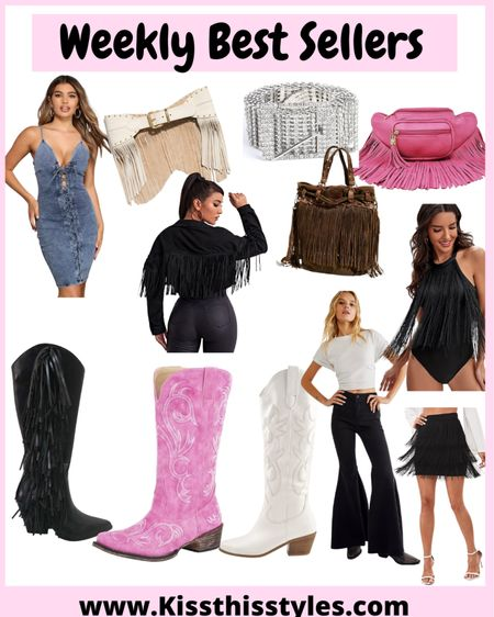 Weekly best sellers! Many of these items are on sale! Those flare jeans are the best fit! Size down one! Fringe Fanny pack is super cute!  Planning a trip to NASHVILLE so shopping for   Fringe cowgirl boots, fringe belts, fringe  bags, high waisted flare jeans, fringe bodysuits and fringe  jackets!  Basically anything with fringe .  Nashville fashion Outfits for Nashville Outfits for concert Concert outfits   Amazon finds   #LTKstyletip #LTKsalealert #LTKtravel