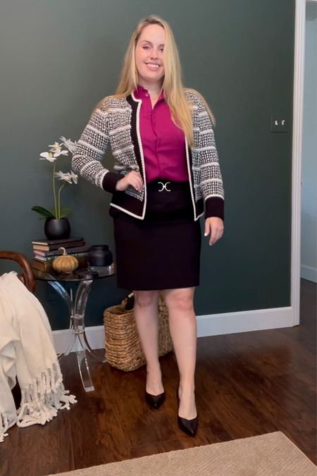 Work outfits, business casual Wearing this express ruffle neck blouse in the color wild orchid (comes in 2 other colors) with a classic black pencil skirt from h&m and this sweater blazer from loft   #LTKworkwear #LTKunder50 #LTKstyletip