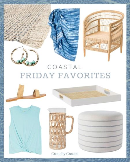 This week's Friday Favorites includes a great collection of affordable pieces!  @liketoknow.it @liketoknow.it.home #liketkit #LTKhome #LTKfit #LTKtravel http://liketk.it/3gIum   gifts gifts for her, summer decor, summer decorations, summer home decorations, coastal decor, beach house decor, beach decor, beach style, coastal home, coastal home decor, coastal decorating, coastal house decor, home accessories decor, coastal accessories, beach vacation outfits, summer fashion, resort style, resort wear, beach style, coastal living room decor, coastal family room, living room decor, affordable neutral decor, coffee table decor, 8x10 rugs, 7x10 rugs, 5x7 rugs, blue and white home, blue and white decor, affordable rugs, natural rugs, natural rug living room, woven rugs, rugs with fringe, living room, living room rugs, bedroom rugs, entryway rugs, hallway rugs, farmhouse rugs, farmhouse rug living room, coastal rustic, coastal rugs, coastal rug, coastal jute rugs, rectangle rugs, rectangular rugs, woven jute rugs, rugs with blue, tassel rugs, cream rugs, target rugs, rugs from target, affordable neutral rug, affordable neutral area rugs, beach coverup, beach vacation coverups, coverups for women, beach sarongs, sarong coverups, sarong skirt, madewell, serena and lily dupe, living room furniture, rattan chair, furniture for sunroom, sunroom furniture, coastal chairs, coastal chairs living room, coastal chairs wicker, TJ maxx home, tj maxx home decor, tj maxx finds, porch furniture, chairs for porch, hoop earrings, gold hoop earrings, anthropologie earrings, anthropologie accessories, anthropologie jewelry, target trays, rattan tray, rattan tray white, decorative trays coffee table, coffee table decor, target studio mcgee, round cube, living room cube, ottoman stool, foot stool, foot rest, extra seating, pitcher vase, pitchers, coastal kitchen decor, zella tank, summer workout tops, twist tank crop top, cropped workout tank, woven sandals, raffia sandals, nordstrom rack sanda