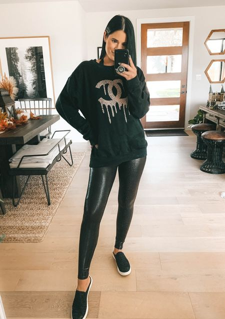 My Drip CC sweatshirt is back in stock for a limited time only!! Use code DTK10 for 10% off your entire order! Spanx also just relaunched their croc faux leather leggings in 2 colors! I wear the small. Use code DTKxSPANX for 10% off your order.    #LTKstyletip #LTKsalealert #LTKunder100