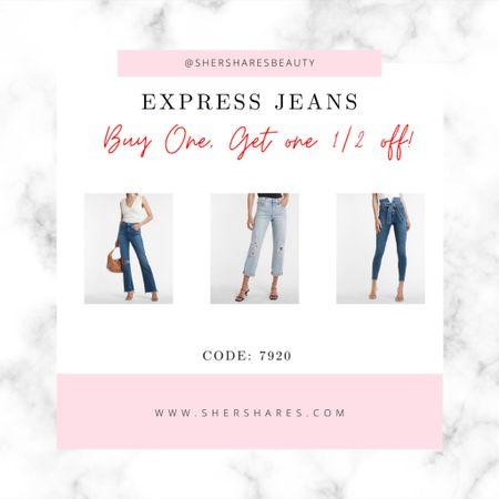 Express Jean sale! Buy one pair, get one pair 1/2 off!    #LTKsalealert #LTKstyletip