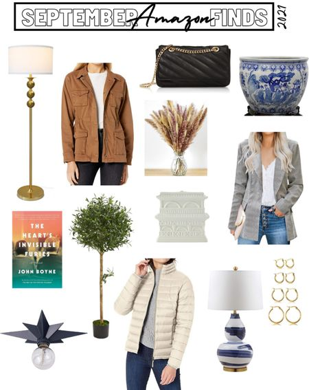 September 2021 Amazon Finds, #AmazonHome #AmazonFashion  floor lamp, blue and white lamp, gold hoop earrings, plaid blazer, Womens puffer jacket, faux olive tree topiary, quilted crossbody bag, fishbowl planter, dried floral bouquet, fall decor    #LTKunder50 #LTKSeasonal #LTKhome