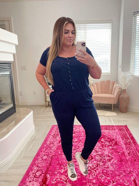 Amaryllis Warehouse Sale! wearing the size xl in navy jumpsuit! so comfy and soft.   #LTKunder50 #LTKcurves #LTKsalealert