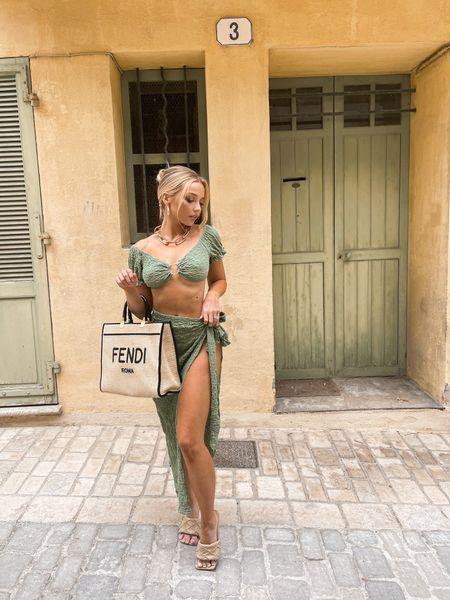 The cutest beach outfit! Olive two piece set #set #olive #green #twopieceset #beachwear #sttropez #fendi #beachbag #fendibag   #LTKunder50 #LTKtravel #LTKsalealert