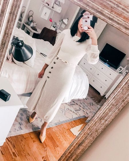 Today's outfit for my cousin's first community. Wore this high waisted skirted with a puffed sleeve blouse. Wearing mustard yellow heels. The most comfortable heels ever! Everything I'm wearing fits true to size. // how to style neutral // first communion outfit http://liketk.it/2BKEc #liketkit @liketoknow.it #LTKunder100 #LTKstyletip #LTKspring