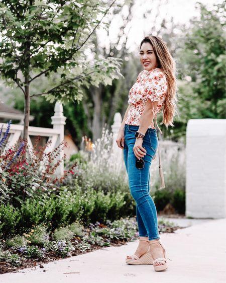 Summer casual brunch outfit  Smocked top - XS / TTS  Skinny jeans - 24 short  Espadrille wedges - 5.5 / TTS   @liketoknow.it http://liketk.it/3hFpP #liketkit #LTKsalealert #LTKunder50 #LTKstyletip