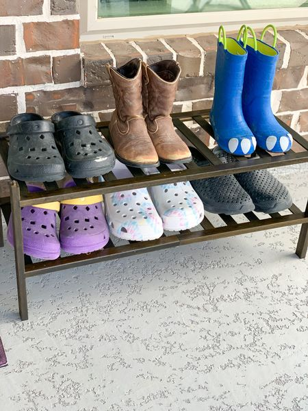 I can't stand shoes all over the patio. Easy fix with this BAMEOS 2-Tier Shoe Rack. It's a Bamboo Stackable Shoe shelf. #Organizer #ShoeRack #Patio #HomeOrganizer  #LTKhome #LTKunder50 #LTKSeasonal
