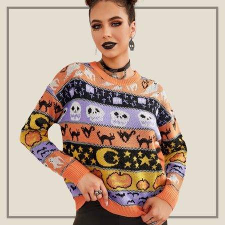 Halloween pattern drop shoulder sweater   #LTKunder50 #LTKstyletip #LTKSeasonal
