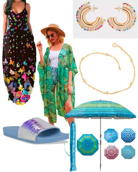 What to pack for a beach vacation: Vacation dress, Caftans, Kimonos, Slide sandals, Fun Summer jewelry and a beach umbrella.   #LTKSeasonal #LTKstyletip #LTKtravel